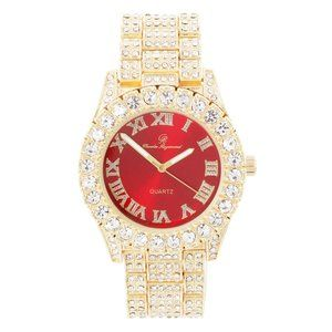 Bling-ed Out Round Watches - ST10327Roman Gold/Red